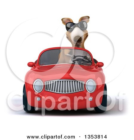 Clipart of a 3d Kangaroo Wearing Sunglasses and Driving a Red Convertible Car, on a White Background - Royalty Free Vector Illustration by Julos