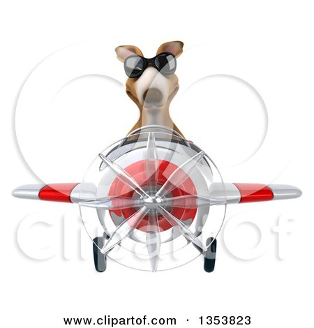 Clipart of a 3d Kangaroo Aviatior Pilot Wearing Sunglasses and Flying a White and Red Airplane, on a White Background - Royalty Free Vector Illustration by Julos