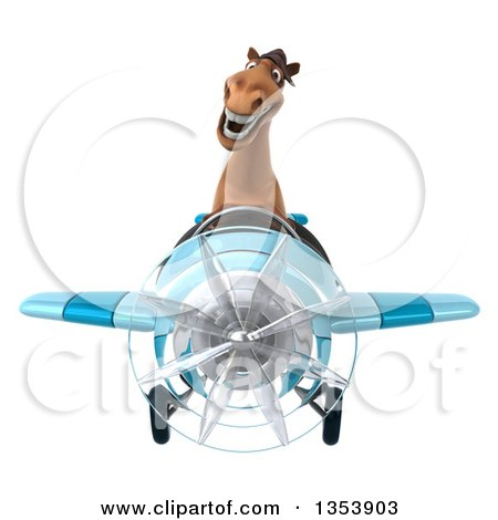 Clipart of a 3d Brown Aviatior Pilot Flying a Blue Airplane, on a White Background - Royalty Free Vector Illustration by Julos