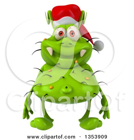 Clipart of a 3d Green Christmas Germ Virus Wearing a Santa Hat, on a White Background - Royalty Free Vector Illustration by Julos