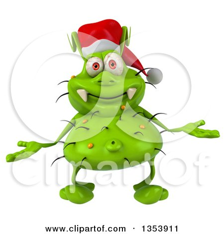 Clipart of a 3d Green Christmas Germ Virus Wearing a Santa Hat and Shrugging, on a White Background - Royalty Free Vector Illustration by Julos
