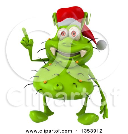 Clipart of a 3d Green Christmas Germ Virus Wearing a Santa Hat and Holding up a Finger, on a White Background - Royalty Free Vector Illustration by Julos