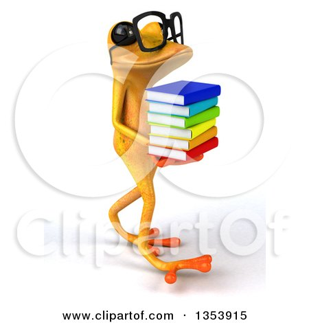 Clipart of a 3d Bespectacled Yellow Springer Frog Walking and Holding a Stack of Books, on a White Background - Royalty Free Vector Illustration by Julos