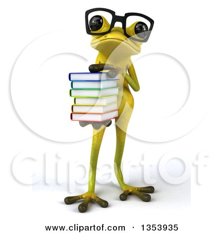 Clipart of a 3d Bespectacled Light Green Springer Frog Holding a Stack of Books, on a White Background - Royalty Free Vector Illustration by Julos