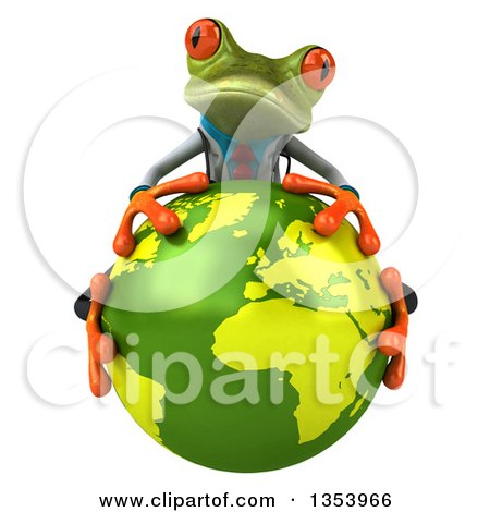 Clipart of a 3d Green Doctor Springer Frog Hugging Planet Earth, on a White Background - Royalty Free Vector Illustration by Julos