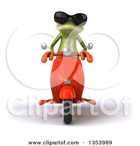 Clipart of a 3d Green Springer Frog Wearing Sunglasses and Riding a Red Scooter, on a White Background - Royalty Free Vector Illustration by Julos