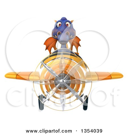 Clipart of a 3d Purple Dragon Aviatior Pilot Flying a Yellow Airplane, on a White Background - Royalty Free Vector Illustration by Julos