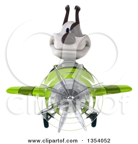 Clipart of a 3d Jack Russell Terrier Dog Aviatior Pilot Flying a Green Airplane, on a White Background - Royalty Free Vector Illustration by Julos