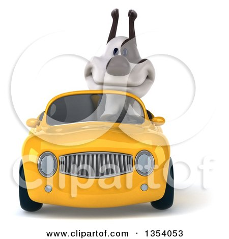 Clipart of a 3d Jack Russell Terrier Dog Driving a Yellow Convertible Car, on a White Background - Royalty Free Vector Illustration by Julos