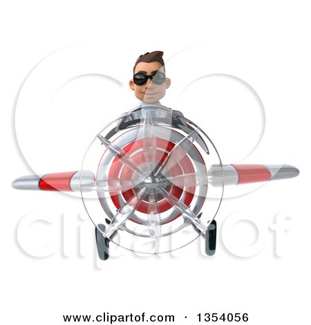 Clipart of a 3d Young White Male Doctor Aviatior Pilot Wearing Sunglasses and Flying a White and Red Airplane, on a White Background - Royalty Free Vector Illustration by Julos