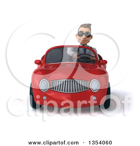 Clipart of a 3d Young White Male Doctor Wearing Sunglasses and Driving a Red Convertible Car, on a White Background - Royalty Free Vector Illustration by Julos