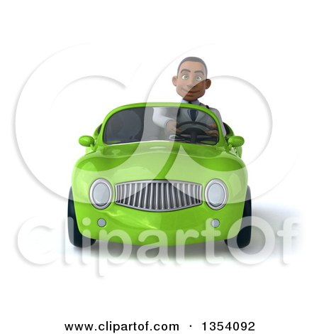 Clipart of a 3d Young Black Male Doctor Driving a Green Convertible Car, on a White Background - Royalty Free Vector Illustration by Julos