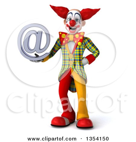Clipart of a 3d Funky Clown Holding an Email Arobase at Symbol, on a White Background - Royalty Free Vector Illustration by Julos