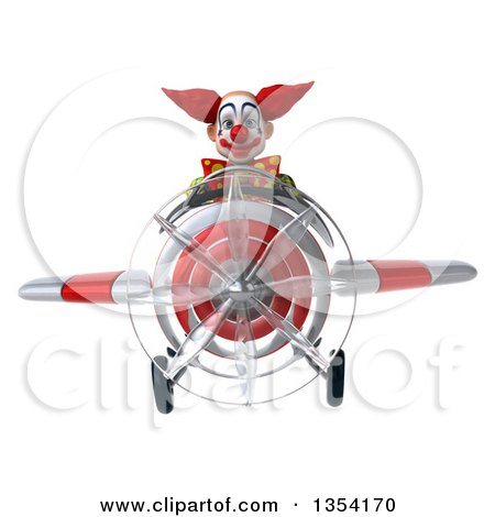 Clipart of a 3d Funky Clown Aviator Pilot Flying a White and Red Airplane, on a White Background - Royalty Free Vector Illustration by Julos