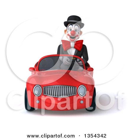 Clipart of a 3d White and Black Clown Driving a Red Convertible Car, on a White Background - Royalty Free Vector Illustration by Julos