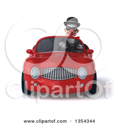 Clipart of a 3d White and Black Clown Wearing Sunglasses and Driving a Red Convertible Car, on a White Background - Royalty Free Vector Illustration by Julos