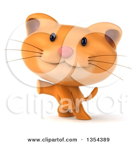 Clipart of a 3d Ginger Cat Presenting, on a White Background - Royalty Free Vector Illustration by Julos