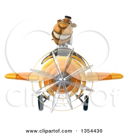 Clipart of a 3d Arabian Business Camel Aviator Pilot Flying a Yellow Airplane, on a White Background - Royalty Free Vector Illustration by Julos