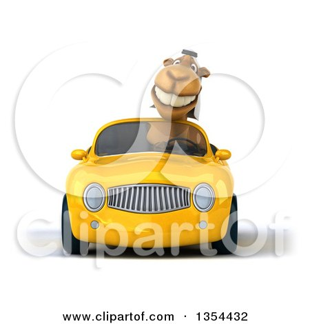Clipart of a 3d Arabian Camel Driving a Yellow Conertible Car, on a White Background - Royalty Free Vector Illustration by Julos