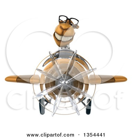 Clipart of a 3d Bespectacled Business Camel Aviator Pilot Flying a Brown Airplane, on a White Background - Royalty Free Vector Illustration by Julos
