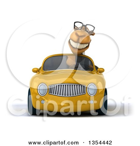 Clipart of a 3d Bespectacled Camel Driving a Yellow Convertible Car, on a White Background - Royalty Free Vector Illustration by Julos