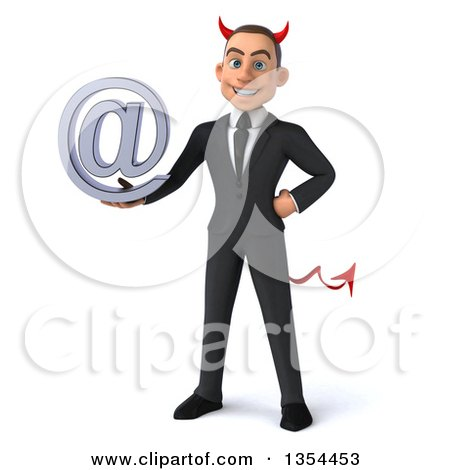 Clipart of a 3d Young White Devil Businessman Holding an Email Arobase at Symbol, on a White Background - Royalty Free Vector Illustration by Julos