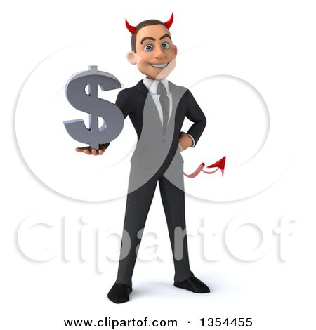 Clipart of a 3d Young White Devil Businessman Holding a Dollar Currency Symbol, on a White Background - Royalty Free Vector Illustration by Julos