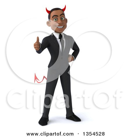 Clipart of a 3d Young Black Devil Businessman Giving a Thumb Up, on a White Background - Royalty Free Vector Illustration by Julos