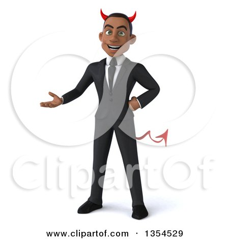 Clipart of a 3d Young Black Devil Businessman Presenting, on a White Background - Royalty Free Vector Illustration by Julos