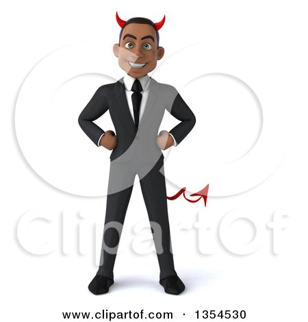 Clipart Of A 3d Young Black Devil Businessman Standing With Hands On His Hips On A White Background Royalty Free Vector Illustration