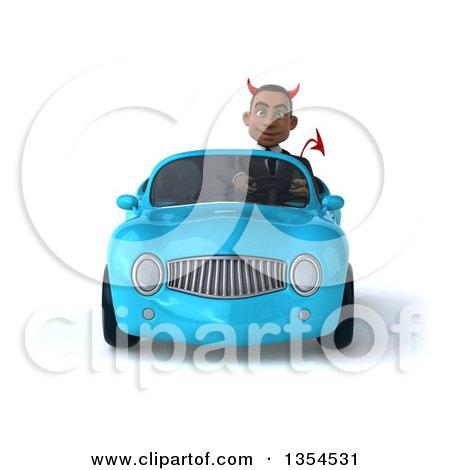 Clipart of a 3d Young Black Devil Businessman Driving a Blue Convertible Car, on a White Background - Royalty Free Vector Illustration by Julos
