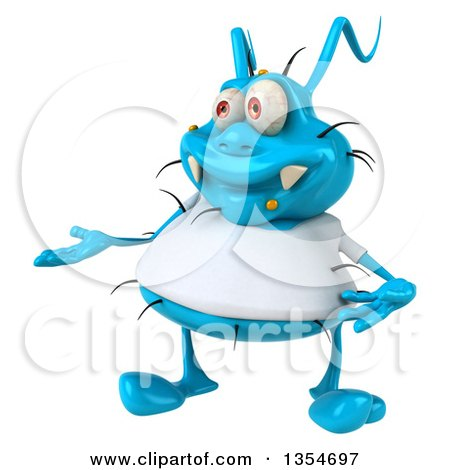 Clipart of a 3d Presenting Blue Germ Virus Wearing a White T Shirt, on a White Background - Royalty Free Vector Illustration by Julos
