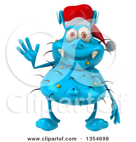 Clipart of a 3d Blue Christmas Germ Wearing a Santa Hat and Waving, on a White Background - Royalty Free Vector Illustration by Julos