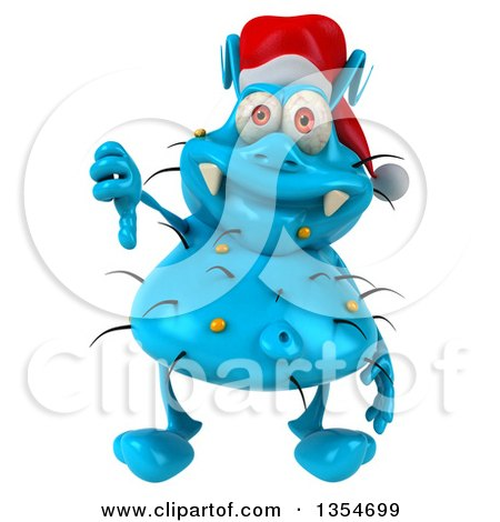 Clipart of a 3d Blue Christmas Germ Wearing a Santa Hat and Giving a Thumb Down, on a White Background - Royalty Free Vector Illustration by Julos