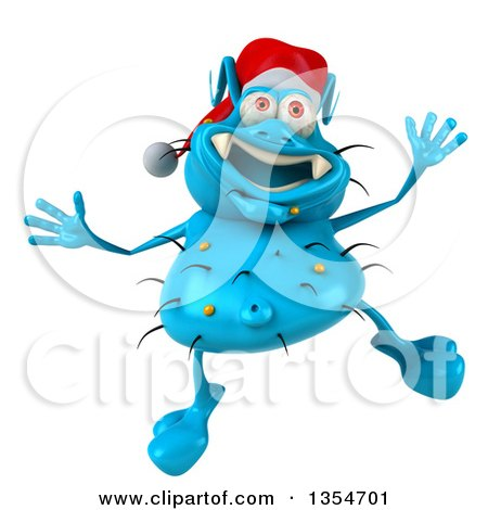 Clipart of a 3d Blue Christmas Germ Wearing a Santa Hat and Jumping, on a White Background - Royalty Free Vector Illustration by Julos