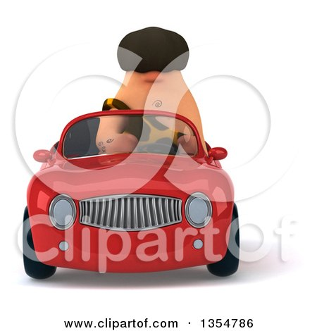 Clipart of a 3d Caveman Driving a Red Convertible Car, on a White Background - Royalty Free Vector Illustration by Julos
