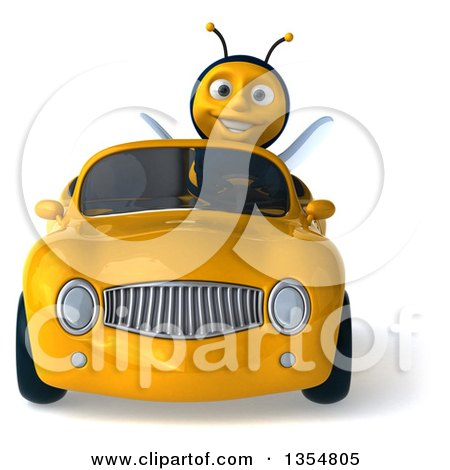 Clipart of a 3d Male Bee Driving a Yellow Convertible Car, on a White Background - Royalty Free Vector Illustration by Julos