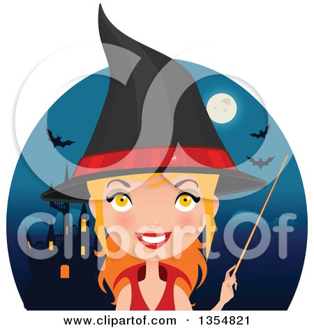 Clipart of a Red Haired Witch Woman Holding a Wand over a Circle with a Haunted Castle, Full Moon and Bats - Royalty Free Vector Illustration by Melisende Vector