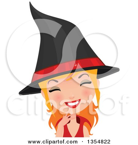 Clipart of a Happy Red Haired Witch Woman Smiling - Royalty Free Vector Illustration by Melisende Vector