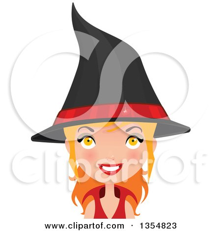 Clipart of a Red Haired Witch Woman Smiling - Royalty Free Vector Illustration by Melisende Vector