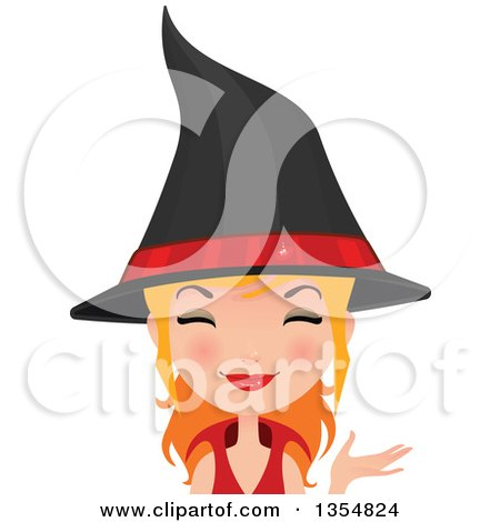 Clipart of a Happy Red Haired Witch Woman Presenting - Royalty Free Vector Illustration by Melisende Vector