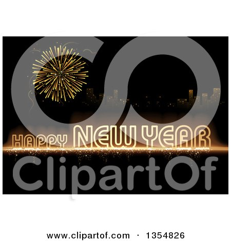 Clipart of a Gold Happy New Year Greeting and Firework over a City on Black - Royalty Free Vector Illustration by dero