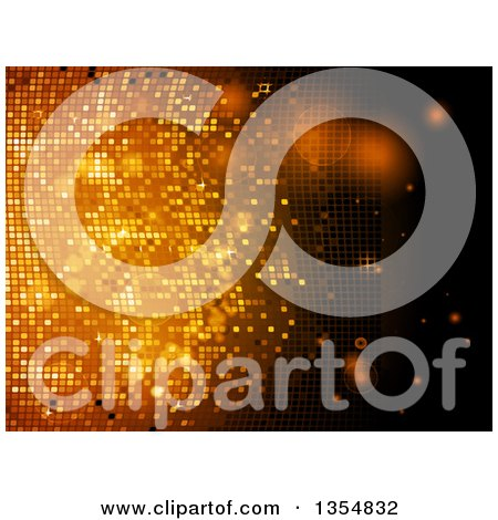 Clipart of a Golden Sparkly Disco Wall Mosaic Background - Royalty Free Vector Illustration by elaineitalia