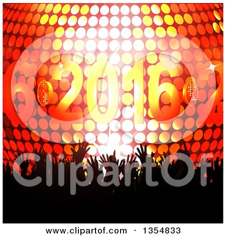 Clipart of a Silhouetted Crowd of Hands over a 3d Disco Ball and New Year 2016 - Royalty Free Vector Illustration by elaineitalia