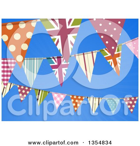 Clipart of a Background of British Themed Bunting Banner Flags over Blue Sky - Royalty Free Vector Illustration by elaineitalia