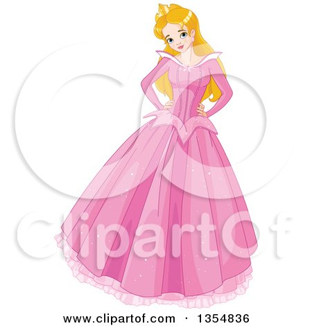 Clipart Of A Happy Caucasian Princess Sleeping Beauty Posing In A Long Pink Dress With Both Hands On Her Hips Royalty Free Vector Illustration