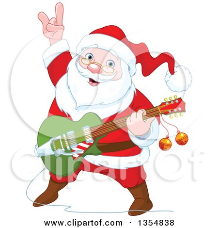 Clipart Of A Christmas Santa Claus Playing A Guitar Royalty Free Vector Illustration