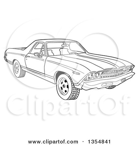 Outline Clipart of a Cartoon Black and White 1969 Cheverolet El Camino Muscle Car Coupe Utility Pickup - Royalty Free Lineart Vector Illustration by LaffToon
