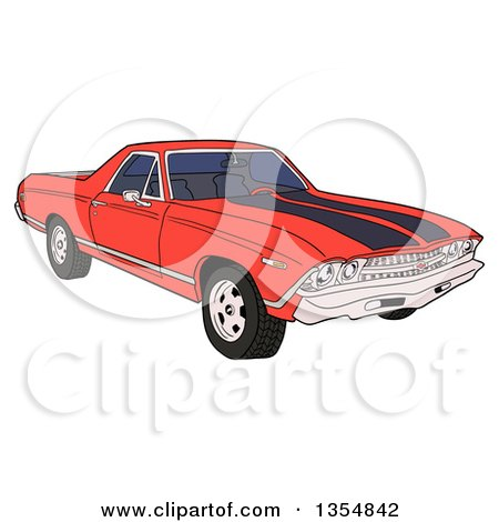 Clipart of a Cartoon Red 1969 Cheverolet El Camino Muscle Car Coupe Utility Pickup - Royalty Free Vector Illustration by LaffToon