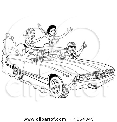 Clipart Man Peeling Out In A 1978 Trans Am Convertible
